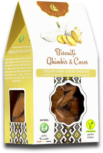 Biscuiți vegan cu ghimbir și cocos 150g 1
